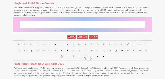 Pubg Name Genaretor Keybord Html Script For Blogger