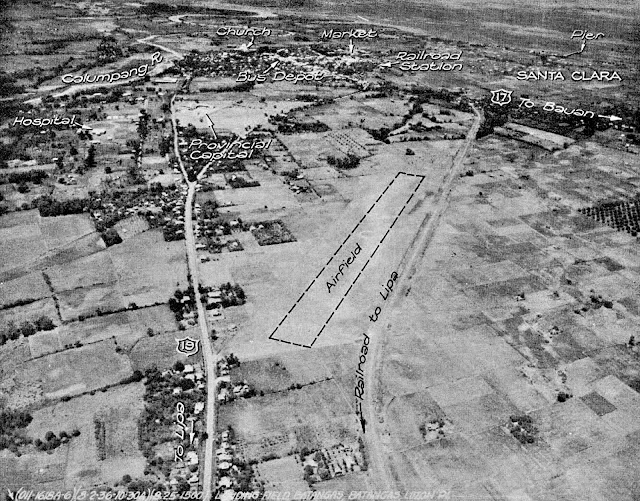 Aerial photo of an airstrip in the town of Batangas.  Image source:  United States National Archives.