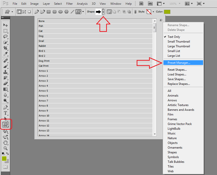 Mengenal Menu Shape di Photoshop