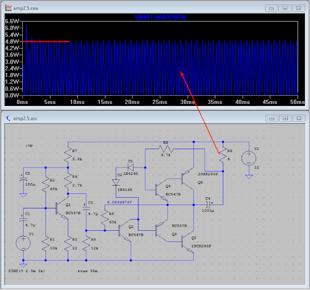 Amplifier simulation in LTspice - screenshot