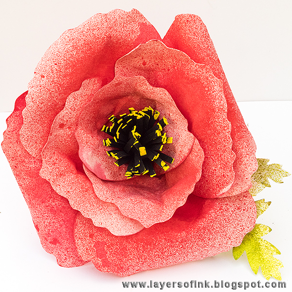 Layers of ink - Sizzix Leather Paper Poppy Tutorial by Anna-Karin