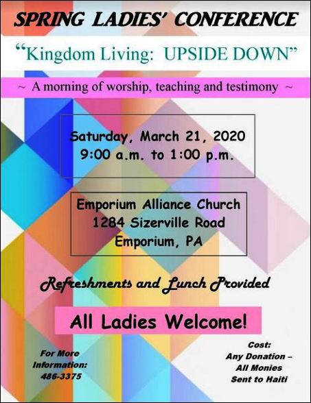 3-21 Spring Ladies Conference, Emporium, PA