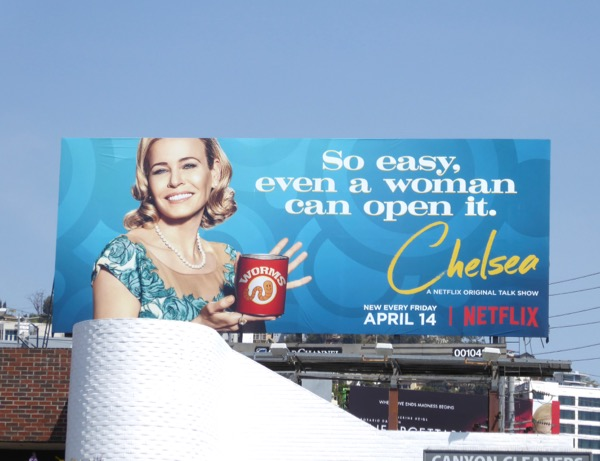 So easy even a woman can open it Chelsea season 2 billboard