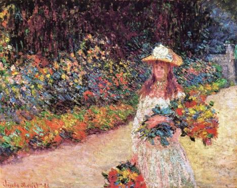 Moça no jardim de Giverny, pintura de Monet.