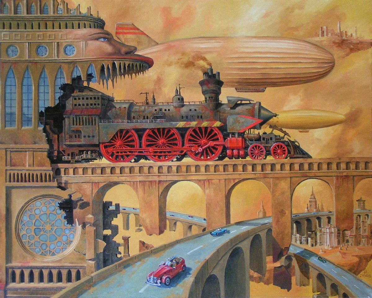 03-Airships-steam-engines-Jaroslaw-Jaśnikowski-Paintings-of-Surreal-Architecture-with-Gothic-Undertones-www-designstack-co