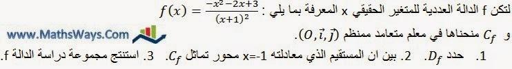 تحديد محور تماثل منحنى دالة عددية