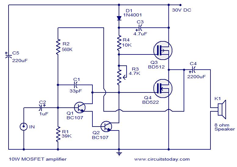 mosfet audio amplifier circuit (10 watt) electronic circuit collection