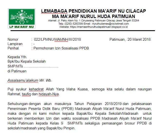 contoh surat permohonan izin sosialisasi ppdb penerimaan
