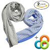 2 Pack Instant Cooling Towel, 48-Inch Long Natural Soft Bamboo Charcoal Healthy Scarf Cool Cloth, Fitness Sports Travel Running Hiking Camping Gym Yoga Golf Workout Must Have! (1Gray+1Blue)