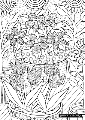 A coloring page of planted flowers / Värityskuva kukista ruukuissaan