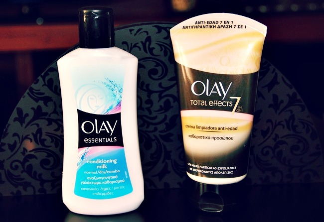Olay total effects and Olay essentials face cleansers