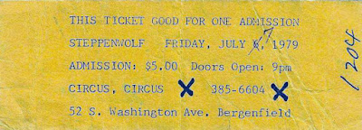 Circus Circus rock club ticket to see Steppenwolf July 7, 1979