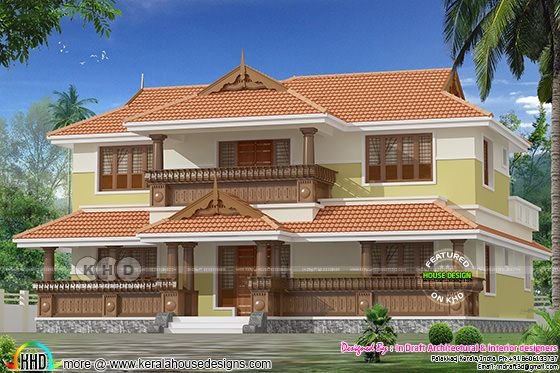 2688 sq-ft 4 bedroom typical Kerala sloping roof home
