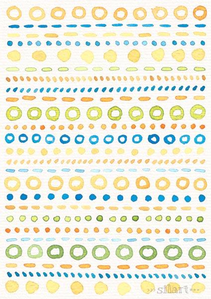 Circles Strokes Dots Pattern, Muster mit Kreisen und Punkten, Wasserfarbe