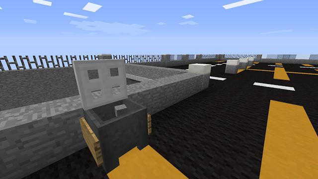In Minecraft: dak parkeergarage,prullenbak