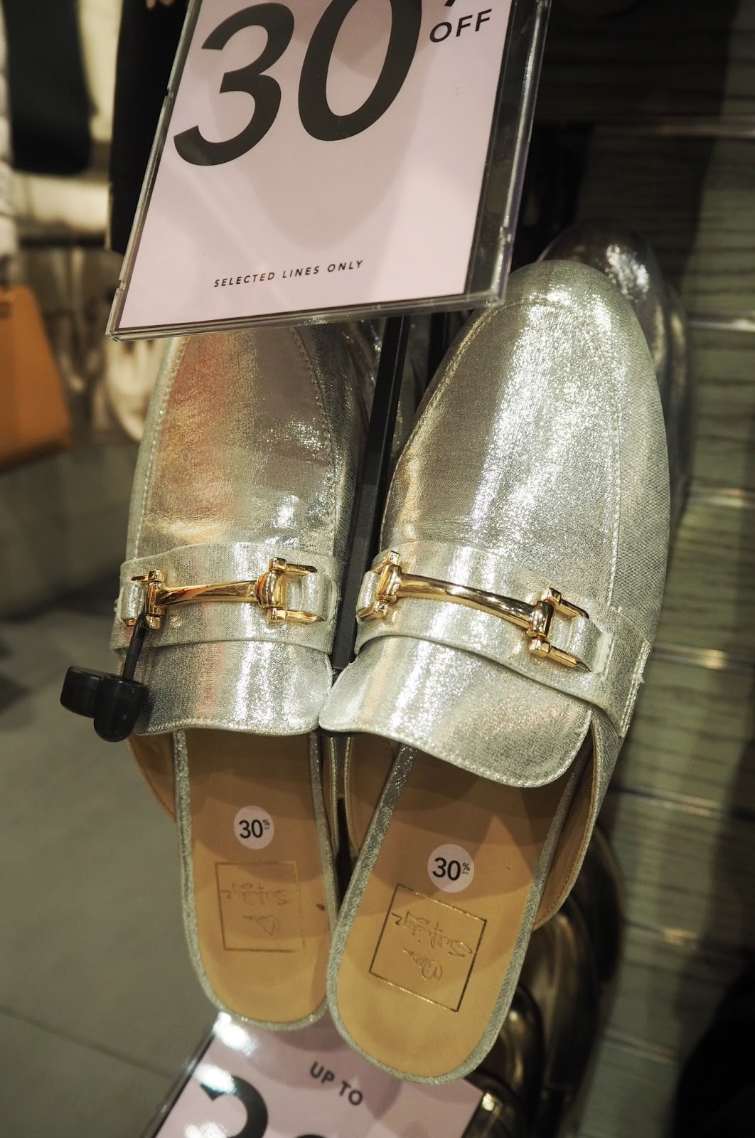 Miss Selfridge Metallic backless mules