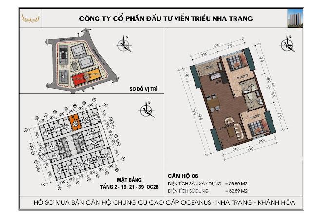 Sơ đồ căn hộ số 06 tòa OC2BViễn Triều Nha Trang