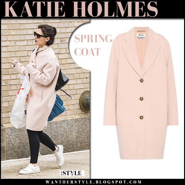 Katie Holmes in pink coat and white sneakers acne studios celebrity spring pastel style april 17