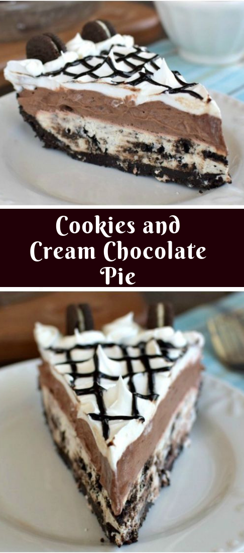 Cookies and Cream Chocolate Pie #dessert #deliousrecipe