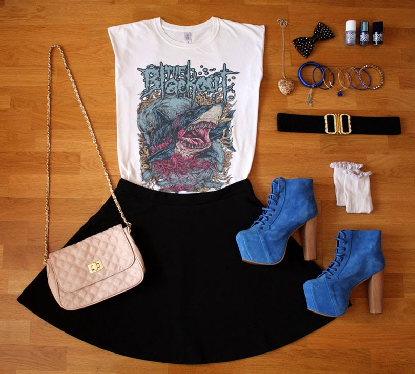 party inspired band t-shirt fashion outfit flat lay from the high street