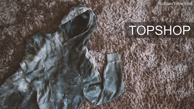 bleached look sweater from topshop topman with hood
