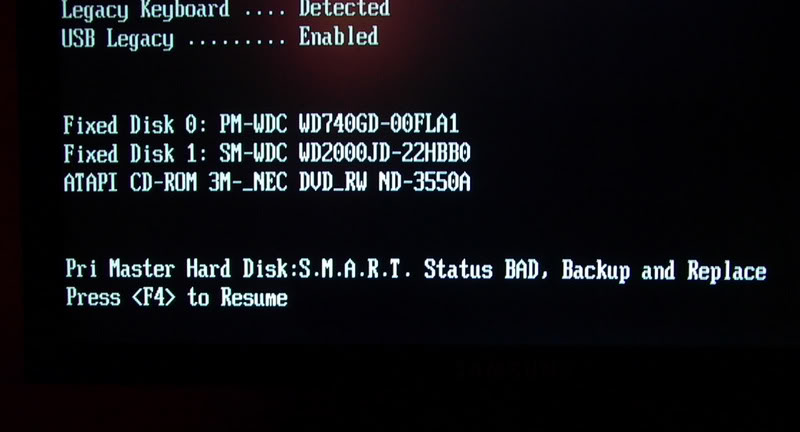 Enchanting Smart Status Bad Backup And Replace Press F1 To Resume ...