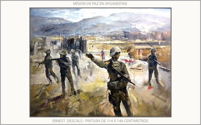 EJERCITO-ESPAÑA-MISION-PAZ-AFGANISTAN-ARTE-MILITAR-PINTURAS-ARTISTA-PINTOR-ERNEST DESCALS-