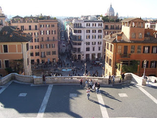 The Piazza di Spagna and the Via Condotti seen from the Piazza Trinità dei Monti, above the Spanish Steps