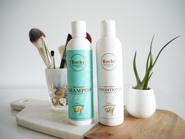 Rocky Mountain Soap Co. Shampoo & Conditioner in soothing moisturizing formula with vanilla coconut scent