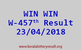 WIN WIN Lottery W 457 Result 23-04-2018