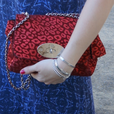 Mulberry Lily in maroon metallic suede leopard worn as clutch | away from the blue blog