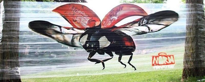 Graffitis sobre film transparente