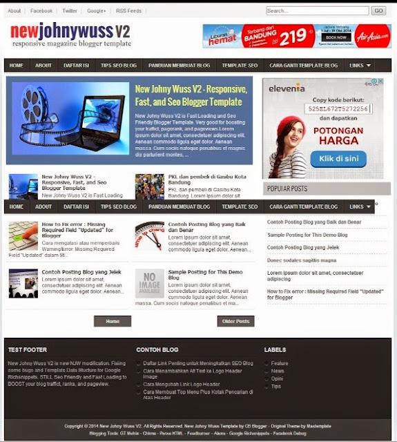 new johny wuss v2 responsive blogger template