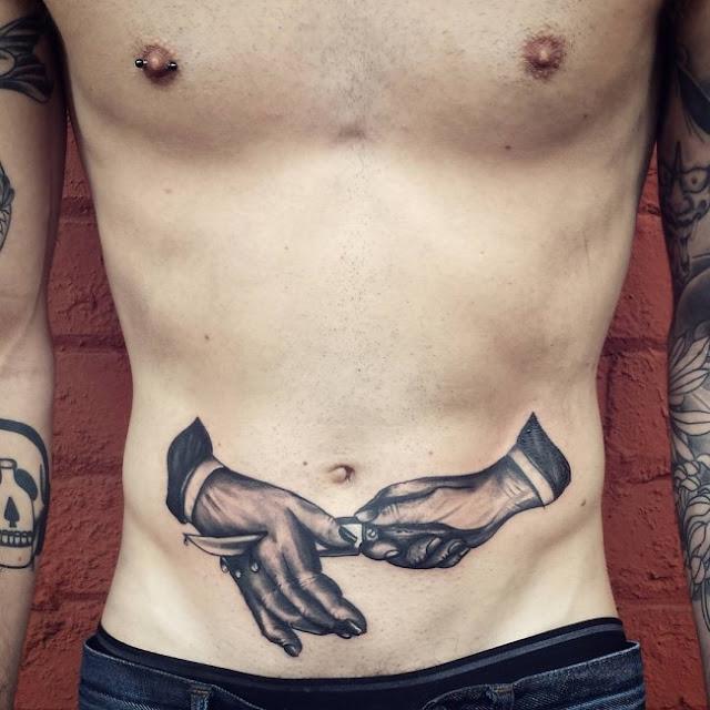Unique Stomach Tattoo, Men Stomach Tattoo