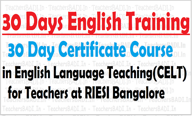 30 days English training, 30 Days Certificate Course,English Language Teaching for TeachersI Bangalore