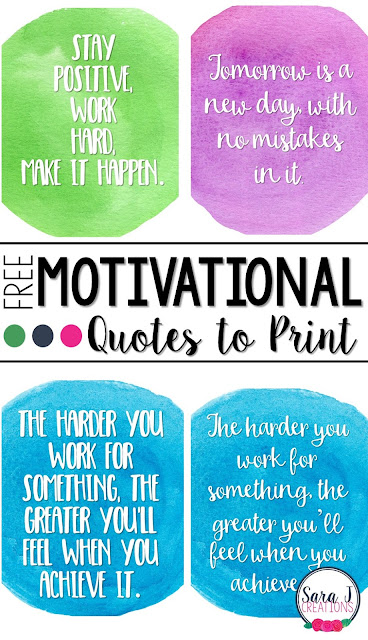 Free motivational quotes to print. Perfect for classroom decor!