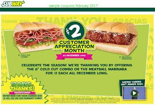 Subway coupons february 2017