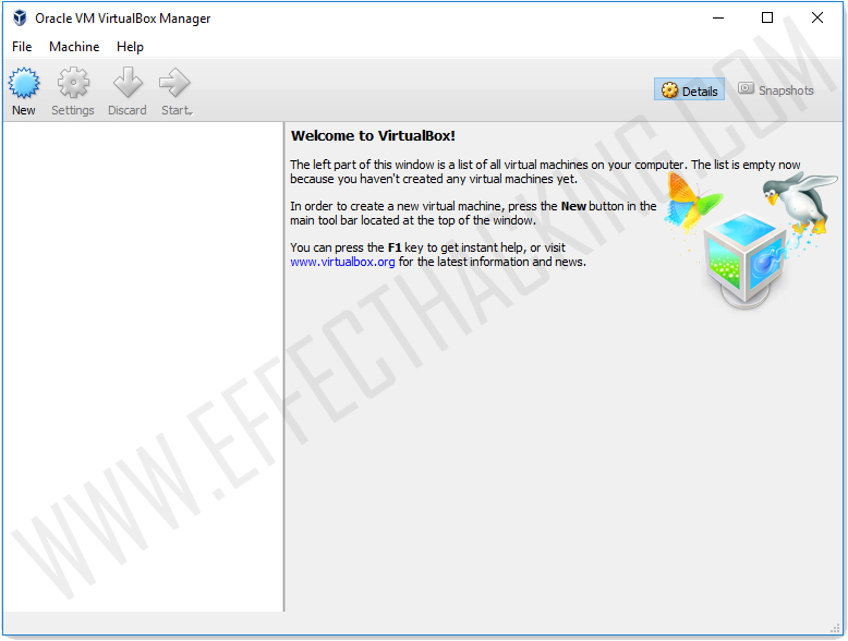 Oracle VM VirtualBox Manager Window Screenshot