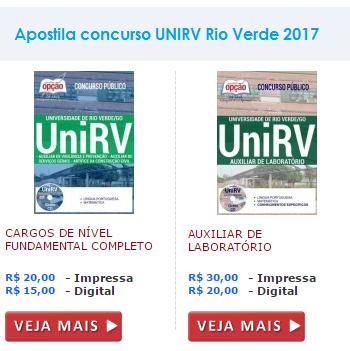 Apostila UNIRV Rio Verde para os cargos de ensino fundamental CONFIRA!