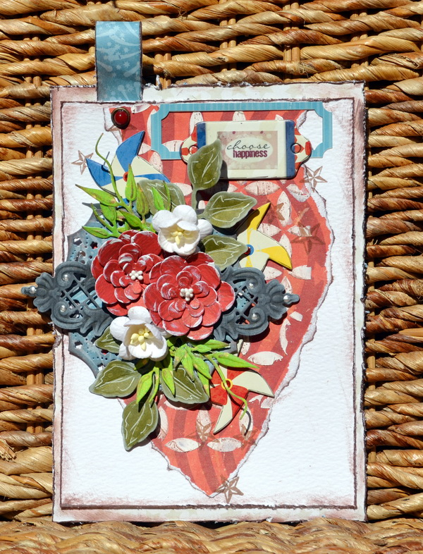 Mixed Media Tag by Denise van Deventer using the BoBunny Firecracker Collection and Jewels