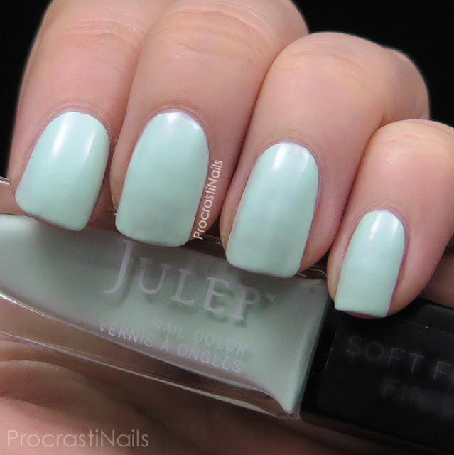 Swatches of Julep's semi-matte mint polish Ali