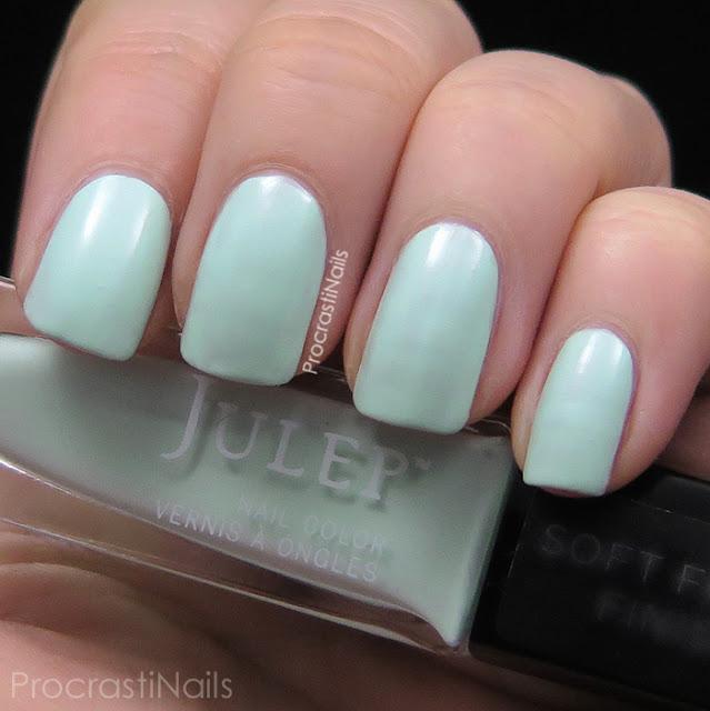 Swatches of Julep's semi-matte mint polish Ali
