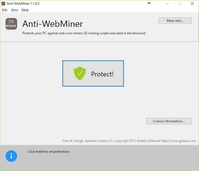 Anti-WebMiner interfaccia grafica