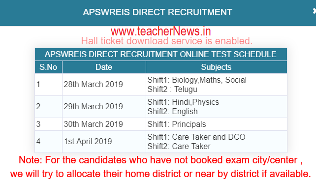 APSWREIS Recruitment Hall tickets released 2019   AP TGT, Principal, warder, DCO Hall ticket