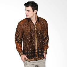 model kemeja batik kombinasi bahan polos Terbaru
