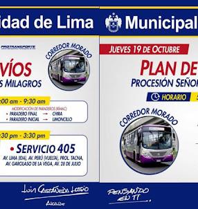 SEÑOR DE LOS MILAGROS 2017: Conoce el plan de desvíos de El Metropolitano y corredores complementarios (18 y 19 Octubre)