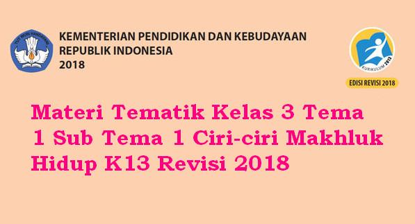Materi Tematik Kelas 3 Tema 1 Sub Tema 1 Ciri-ciri Makhluk Hidup K13 Revisi 2018