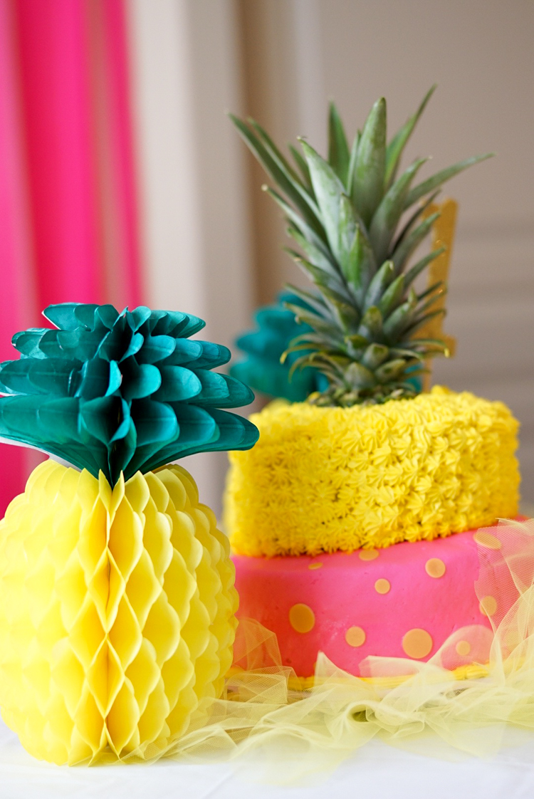Pineapple Theme Birthday Pink Yellow Cake