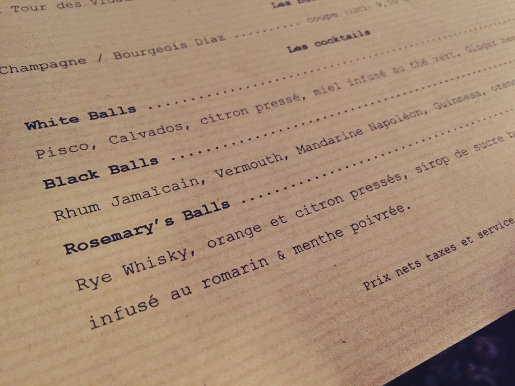 Drinks Menu Balls Paris