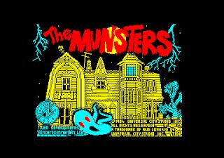 Pantalla de título del videojuego de Amstrad CPC: The Munsters, 1989